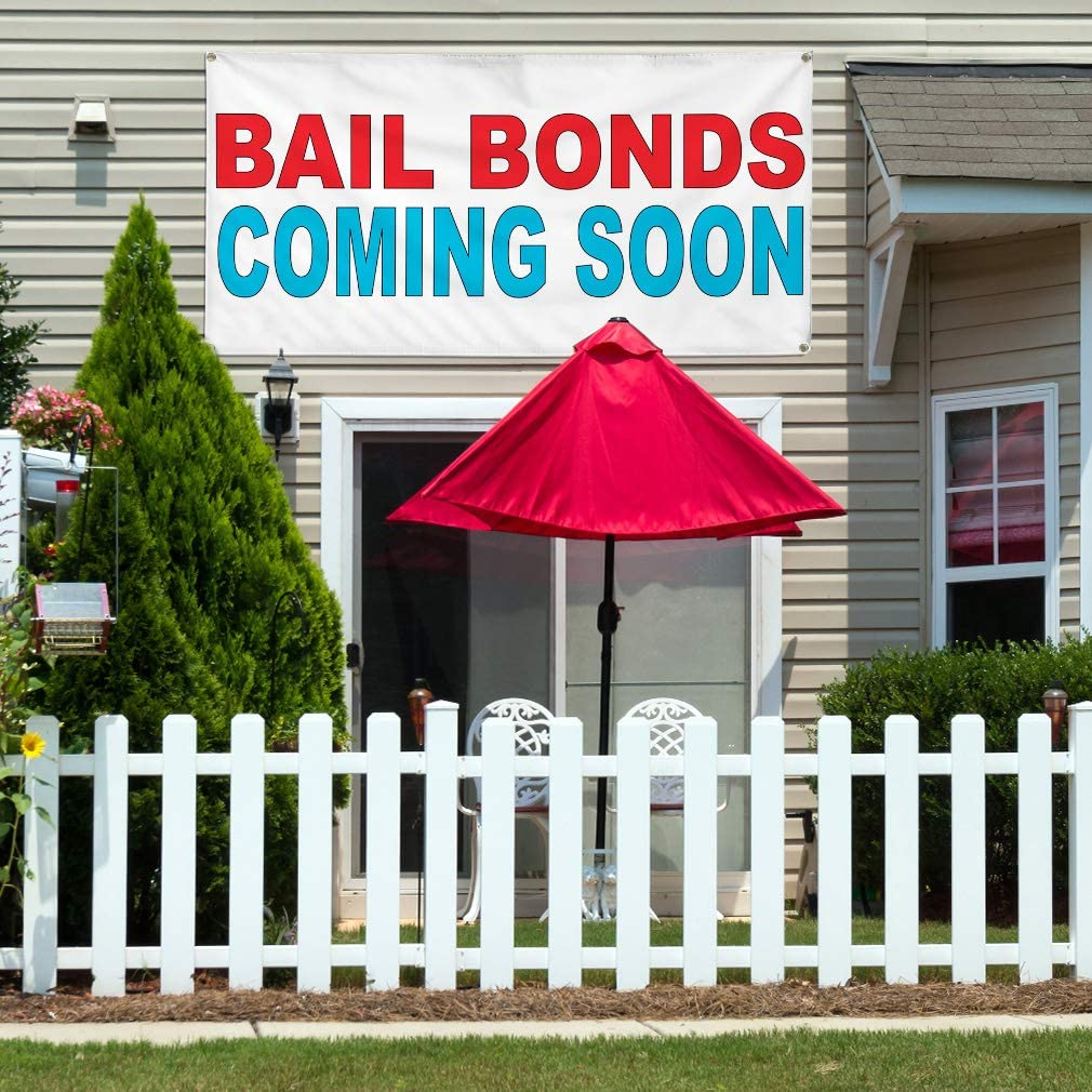 Vinyl Banner Multiple Sizes Bail Bonds Coming Soon Red Blue Business Outdoor Weatherproof Industrial Yard Signs 10 Grommets 60x144Inches