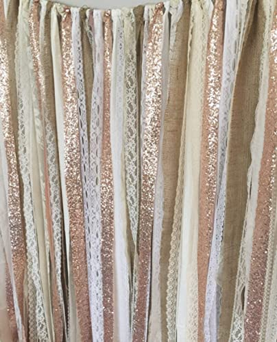 Rose Gold Sequin Garland Backdrop 5x6 Rustic Chic Wedding Curtain Baby Shower