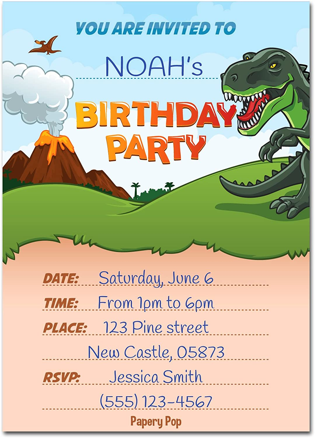 Dinosaur Birthday Invitations with Envelopes 15 Pack Dinosaur Party Decorations Supplies Papery Pop - Kids Birthday Invitations for Boys or Girls
