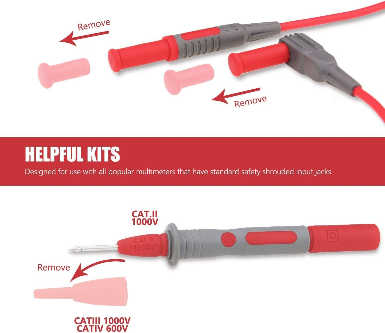 mini ganchos y elementos de cocodrilo cable AstroAI Cable de medici/ón para mult/ímetro sondas actualizadas a CAT IV especialidades flexibles cable de extensi/ón accesorios punta de prueba