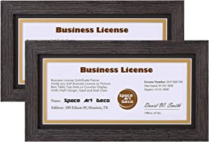 Space Art Deco, Brown Colored Frame for 4x9 Business License/Certificates, Includes D-Shaped Hangers for Hanging and Easel Stand for Table Top (5x10 Frame with Black Over Gold Double Mat, Set of 2)