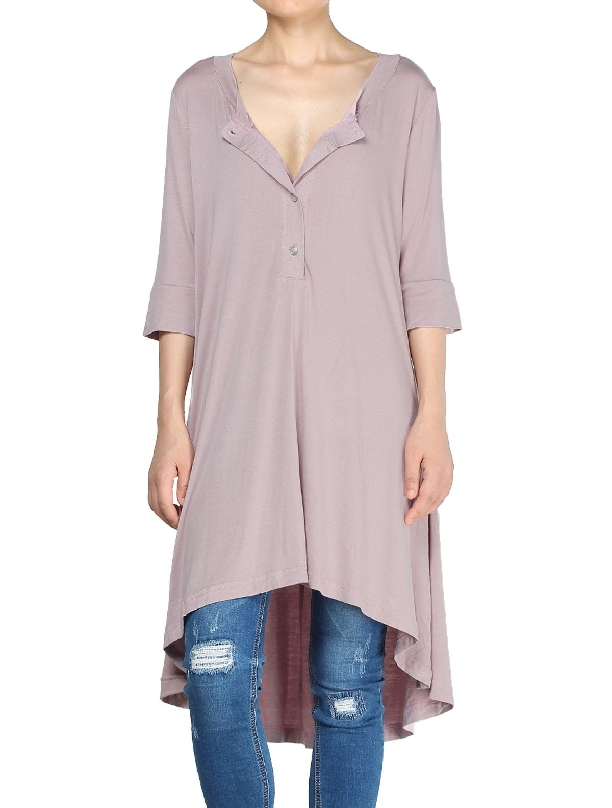 Mordenmiss Women's New Half Sleeve High Low Loose Tunic Tops Pink-L