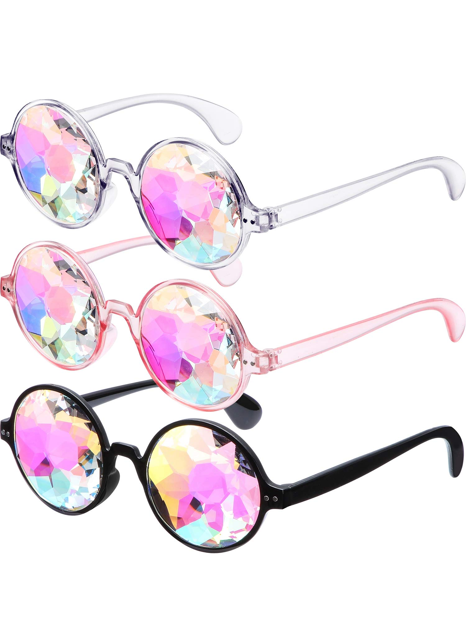 Kaleidoscope Goggles Rainbow Prism Sunglasses with Glasses Cloth for Rave Party Festival Decoration Favors (White, Pink, Black, 3 Pieces)