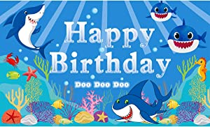 Ushinemi Happy Birthday Backdrop Banner Baby Shark Theme Party Decorations Supplies Ocean Under The Sea Themed Sign for Kids Boy Girl, 6X3.6Ft
