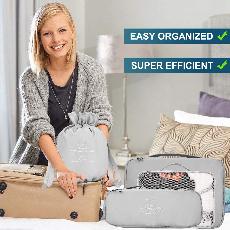 Organizer per valigie 8 pezzi ultimi viaggi organizzatori di viaggio di progettazione includono impermeabile sacchetto di stoccaggio scarpa sacchetti di compressione per il viaggia