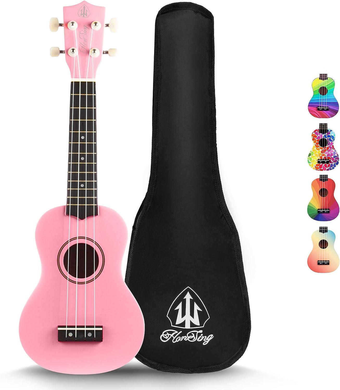 Gradient Rainbow Color honsing New Basswood Soprano Beginner Ukulele Hawaii Guitar Uke 21 inches with Gig Bag Case