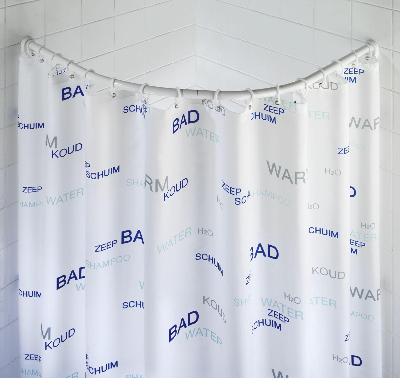 WENKO 19220100 Barra semi circular cromado variable para cortina de ba/ño Cromo Aluminio