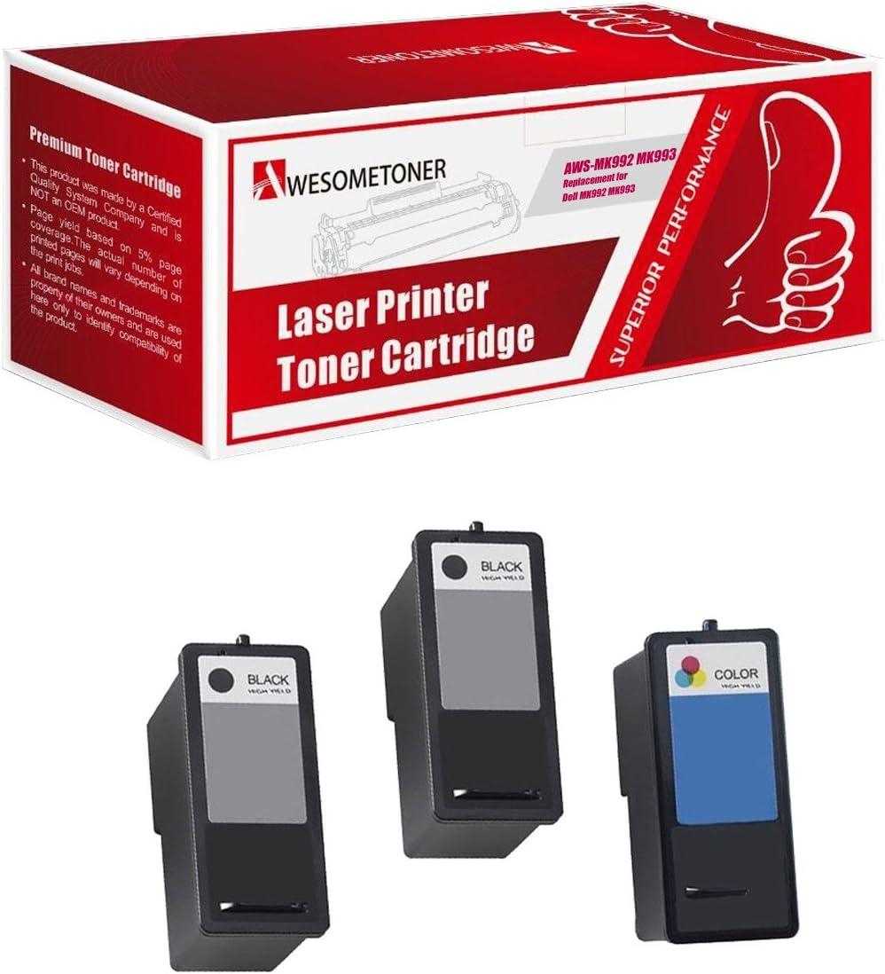 Awesometoner 3-Pack DELL Remanufactured DELL (Series 9) 2 x MK992 Black & MK993 Color Ink Cartridges for DELL 926, V305, V305W Printers