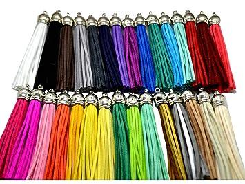 Amazon.com: 30pcs de Multi-Colors borla de piel con plata ...