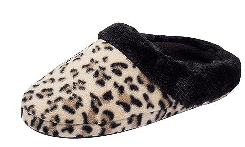 schwarz animal Pantoffel Hausschuhe Schuhe Damenmode
