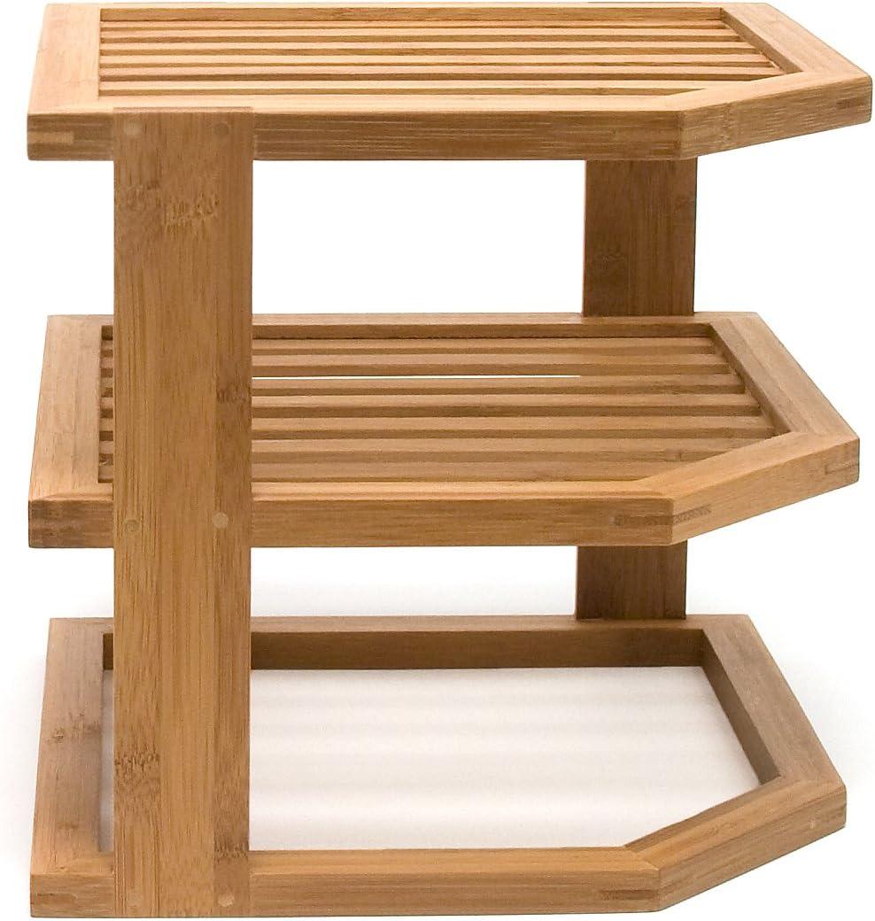 Lipper International 8883 Bamboo Wood 3-Tier Corner Kitchen Storage Shelf,  10\