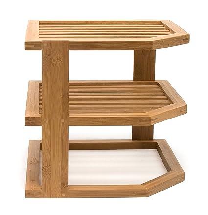Lipper International 8883 Bamboo Wood 3 Tier Corner Kitchen Storage Shelf,  10u0026quot; X