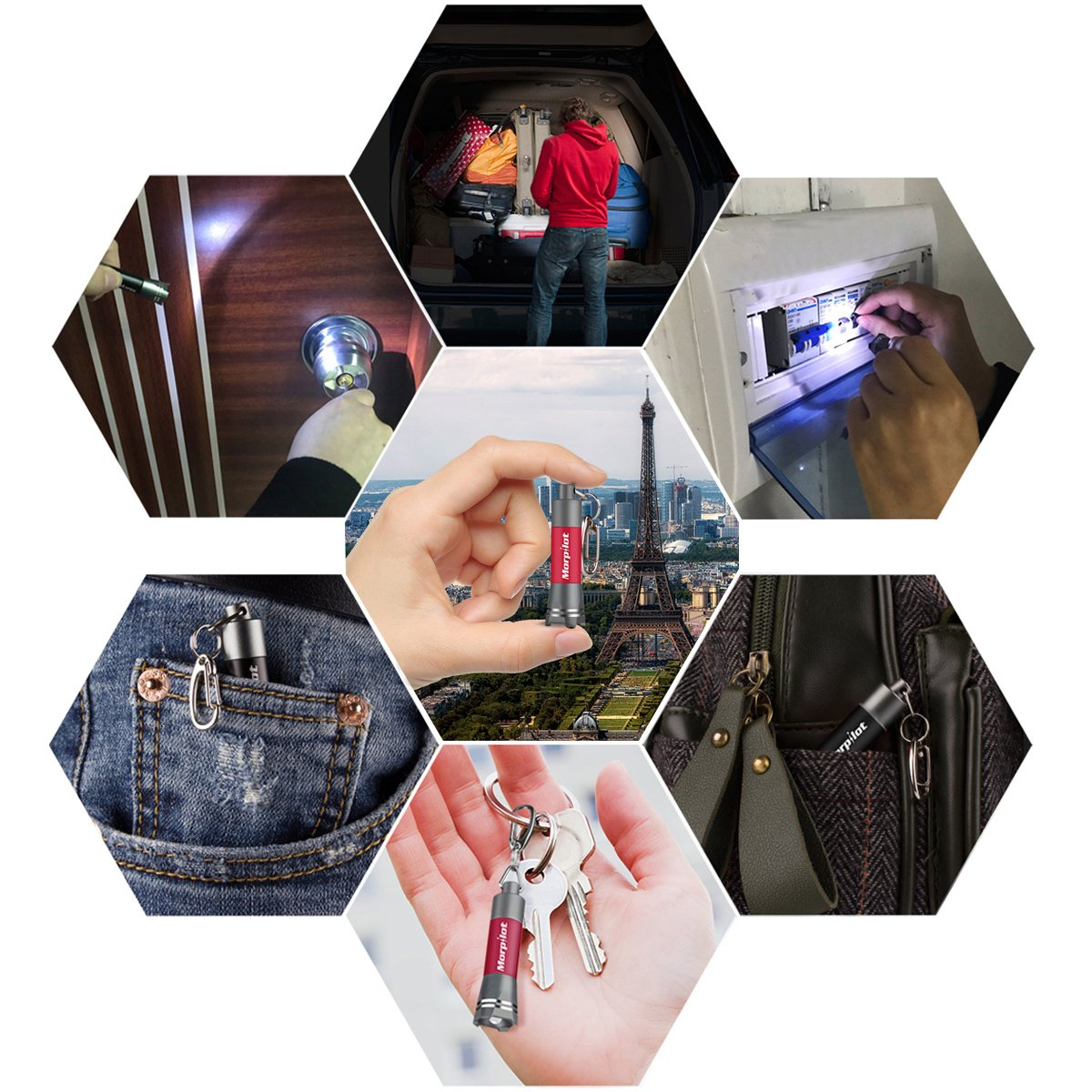 2 Pack 12 LED UV Flashlight Urine Detector - Morpilot Upgrade Ultraviolet Light Blacklight with 2 Pack Mini Keychain Flashlight for Detect Bed Carpet Bug Dog Urine Stain Scorpion