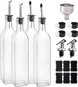 BAKHUK 4 pack 17oz Glass Olive Oil Dispenser Bottles 500ml Clear Vinegar Cruet with Pourers and Funnel for Kitchen