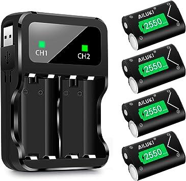 Batería para Mando de Xbox One (2550 mAh) 4 Unidades Negro y Verde ...