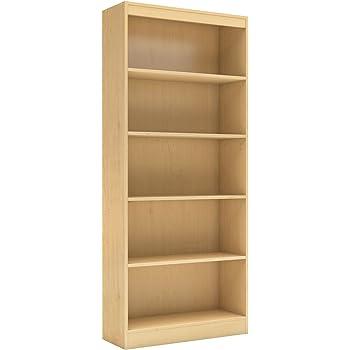 NEW 5 Shelf Bookcase Bookshelf Book Case Dark Cherry Black Elegant Display Decor