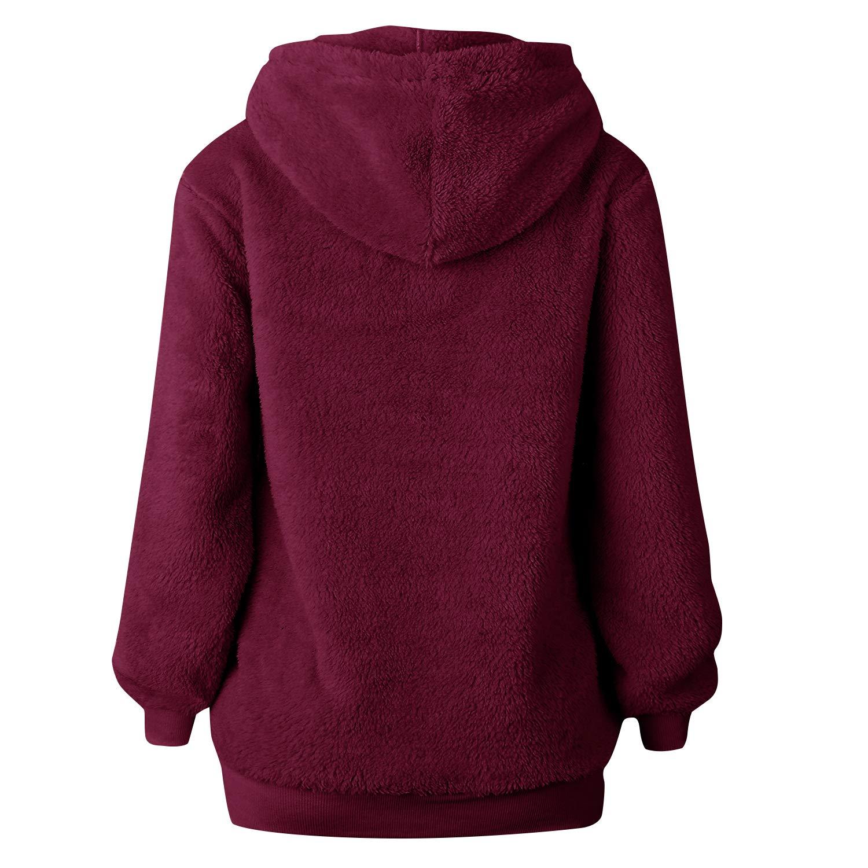 Yidarton Pullover Damen Hoodie Winter Lose Warm Kapuzenpullover Teddy-Fleece Langarm Oversize Sweatshirt mit Kapuze