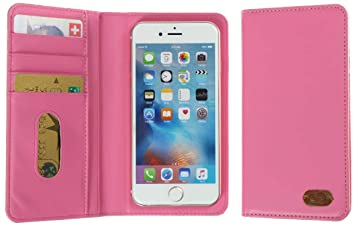 new product 9e96c 23b44 3Q Universal Cell Phone Case 4 to 5.5 inch in top premium Faux Leather  Elegant Sleeve Booklet Folio Cover with Wallet Function Pink