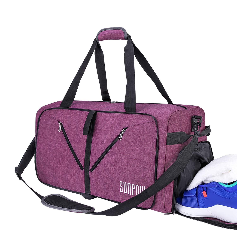 0890e7b2a9 Amazon.com | SUNPOW 85L Travel Duffel Bag, Large Weekender Bag With Shoes  Compartment Tear Resistant Packable Duffle Bag For Men Women Purple |  Travel ...