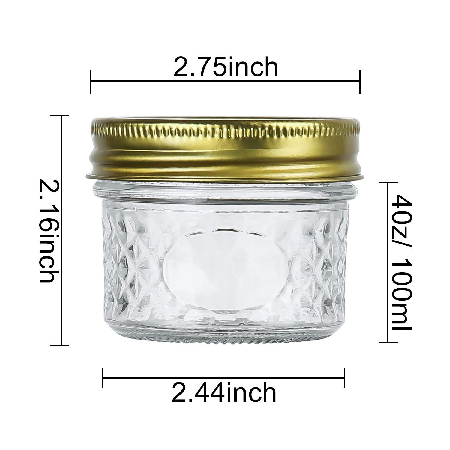 Encheng 4 oz Glass Jars With Lids And Bands,Small Canning Jars For Caviar,Herb,Jelly,Jams,Mini Wide Mouth Mason Jars For Kitchen Storage Preserving Food And Party Favors 40 Pack ... by Encheng (Image #2)