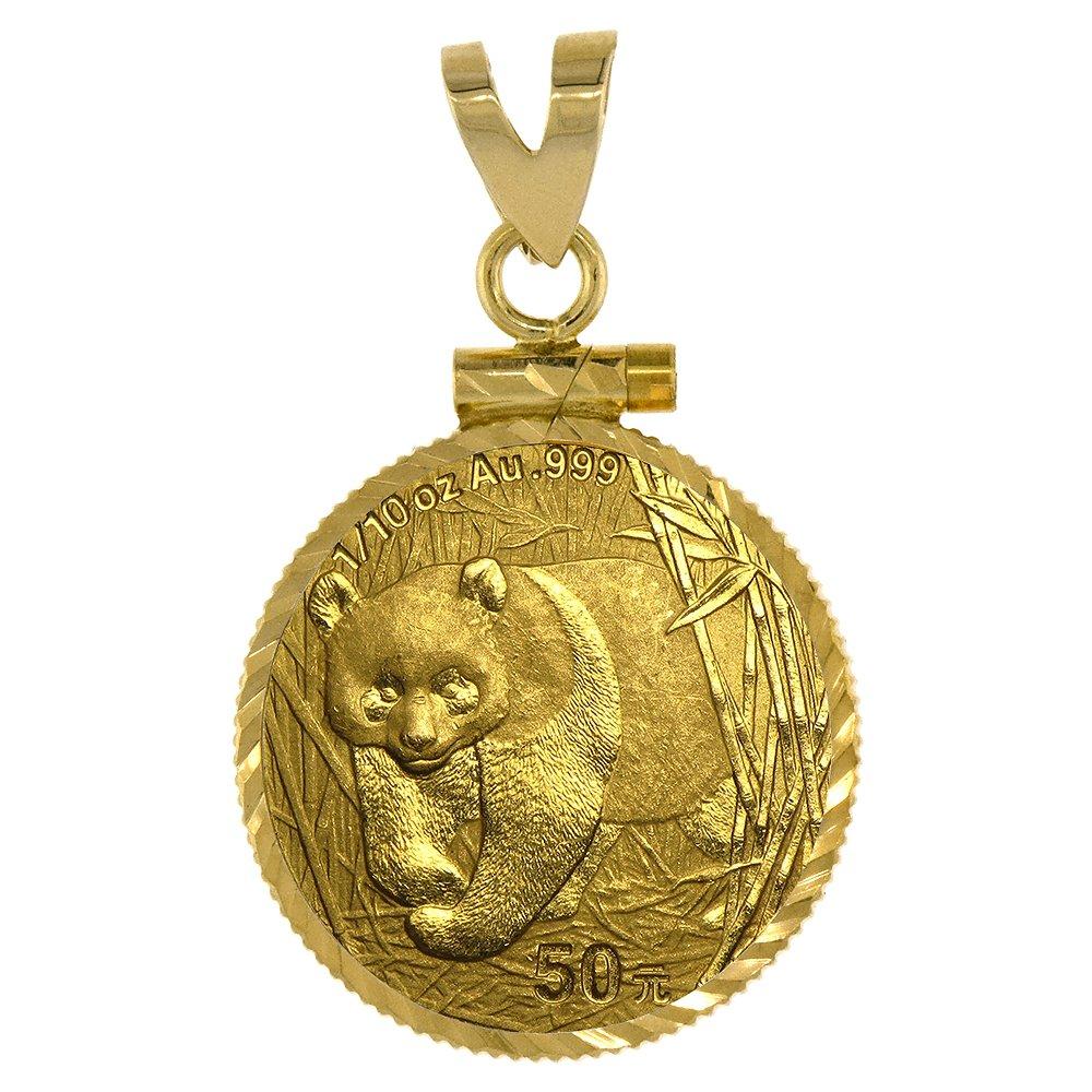14k Gold 1/10 Gold Panda Bezel Diamond Cut 18mm coin Screw Top