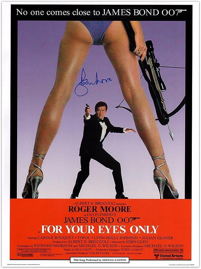 Sólo para sus ojos de James Bond Póster de película, firmada por Roger Moore. En la caja de regalo: Amazon.es: Deportes y aire libre