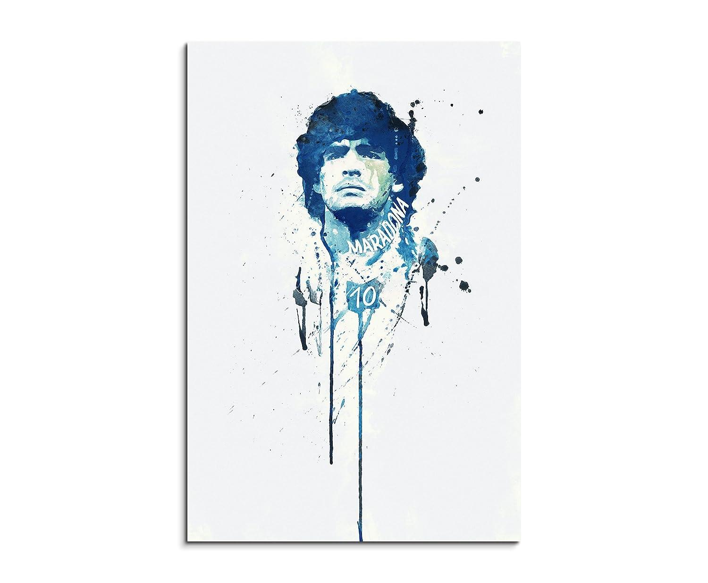 Diego Maradona 90 X 60 cm Telaio Immagine illustrazioni ad acquerello arte murale su tela pronta da appendere originale Paul Sinus Art pezzo unico