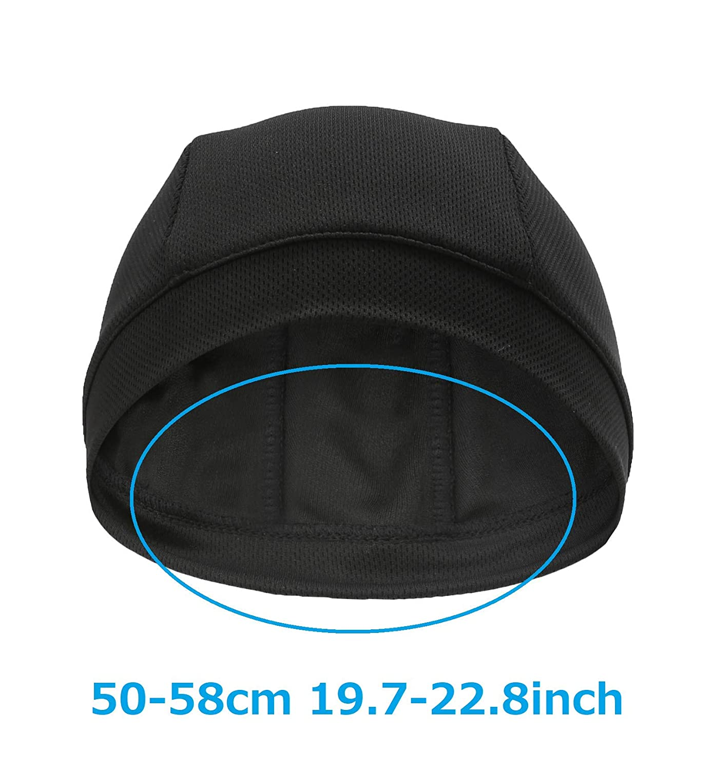 as a Hard Hat /& Helmet Liner Cycling Running Hat Litbun Cooling Skull Cap Black 2 Pack Sweat Wicking for Men and Women