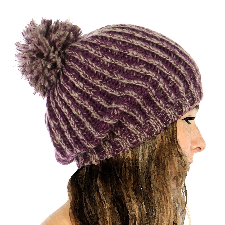 Mohair Melange Knit Pompom Beanie Hat