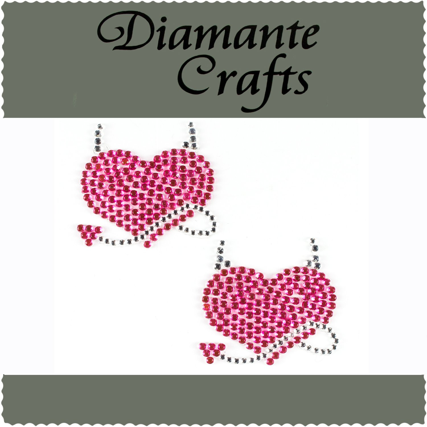 2 Hot Pink & Clear Diamante Devil Hearajazzle Rhinestone Body Art Gems - created exclusively for Diamante Crafts