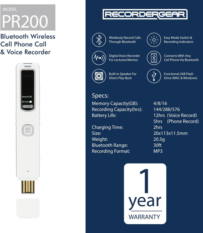 Wireless Bluetooth Digital Mini Voice Recorder Support Phone Call Recording UK
