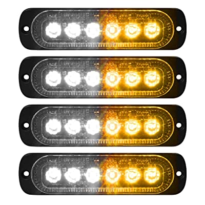 VKGAT 4pcs Sync Feature 6LED Car Truck Emergency Beacon Warning Hazard Flash Strobe Light Surface Mount (Amber/White): Automotive