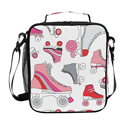540a693102a3 Amazon.com: Roller Skate Pattern Lunch Bag with Zip Closure ...