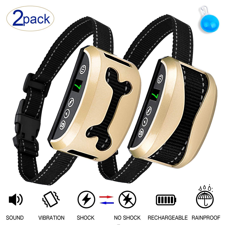 Awaiymi Bark Collar 2 Pack Upgraded 7 Sensitivity Rechargeable Dog Barking Collar Beep/Vibration/Safe Shock Or No/Anti Bark Reflective Collar for Small Medium Large Dogs by Awaiymi