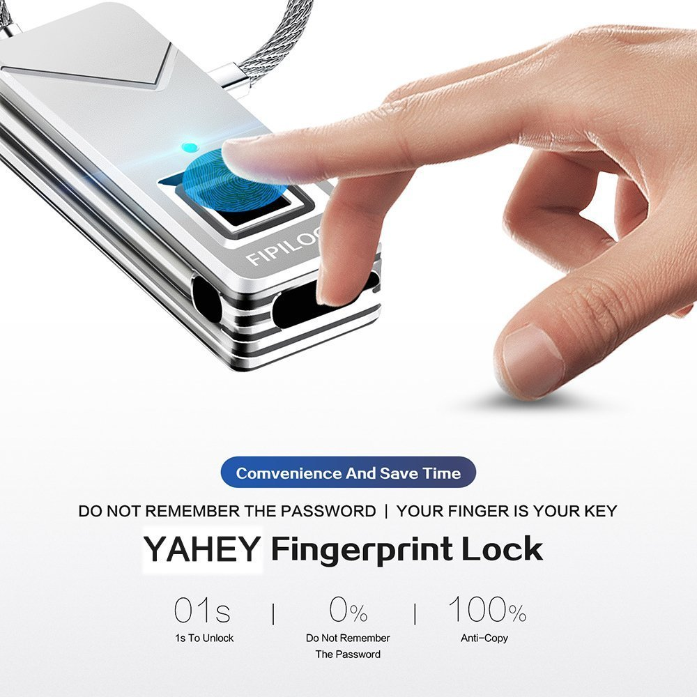 YAHEY Fingerprint Lock, Portable Smart Biometric Padlock Security No Password Waterproof and Anti-Theft Padlock for Golf Bag Suitcase, Gym Locker, Cupboard, Drawer Bike and More(Sliver) by YAHEY (Image #3)