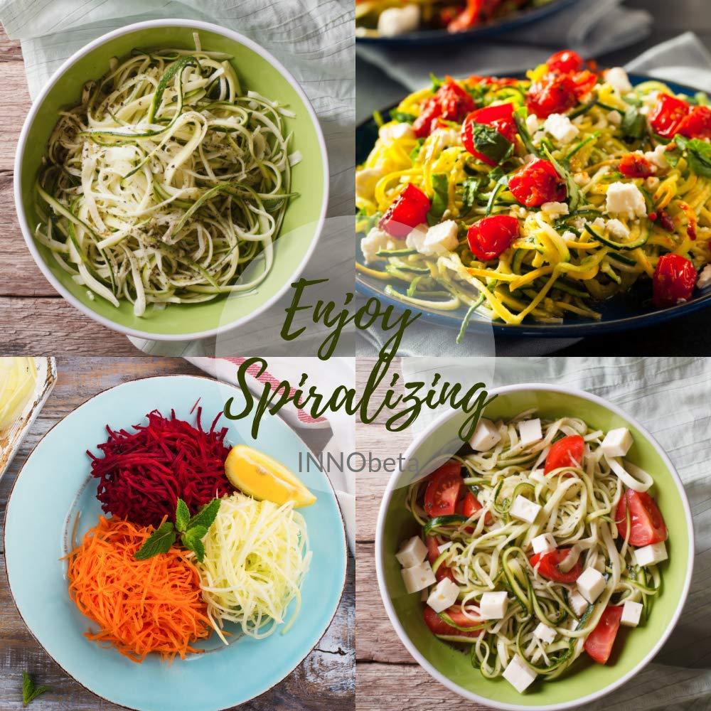 Compra InnoBeta Espiralizador-Cortador en Espiral, Mandolina, rallador, para Frutas y Verduras, 5 Cuchillas, para Low-Carb Ensalada, Pasta & Espaguetis, ...