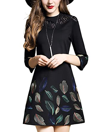 b89acb45a DanMunier Women's 3/4 Sleeve Embroidery Floral Fit and Flare A-Line Dress (