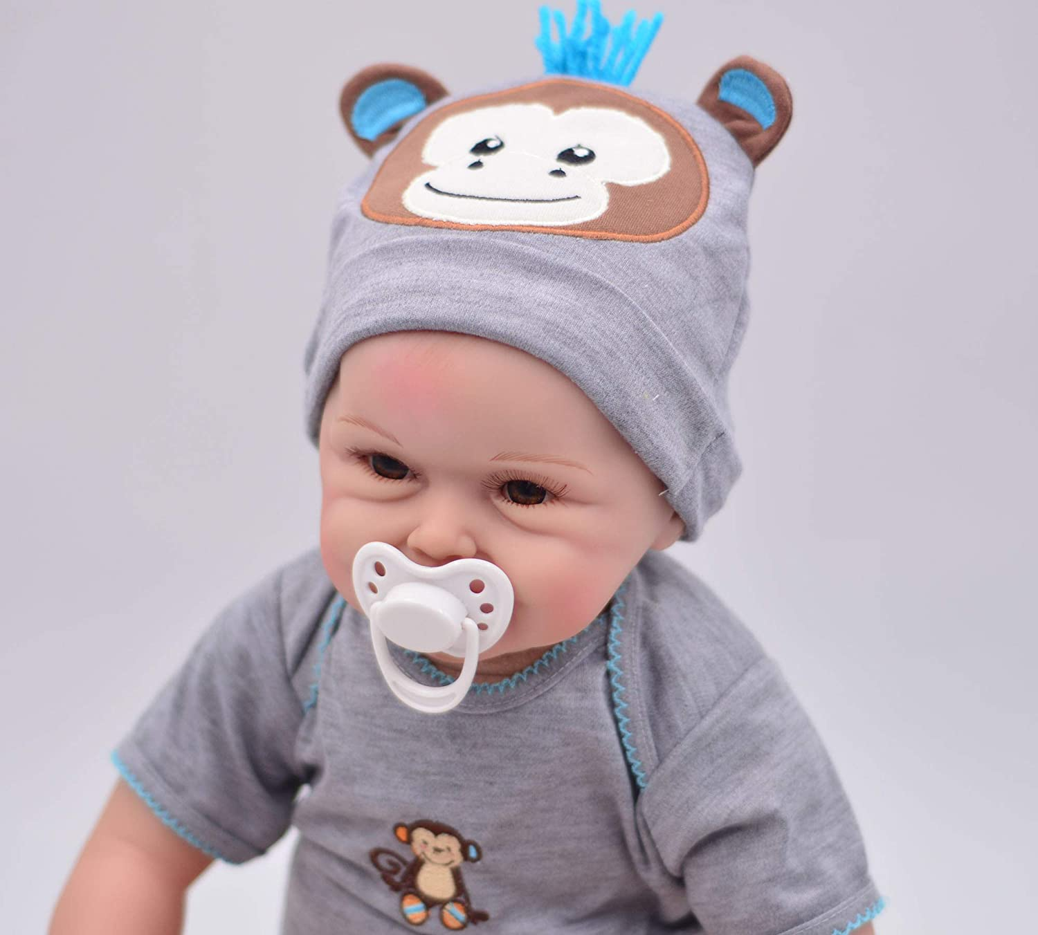 with a Print Animal Big Blanket Set Charm Baby 22 inch Reborn Baby Boy Soft Viny one Dolls with 3 Set Animal Embroidery hat and outft This is a Big Surprised