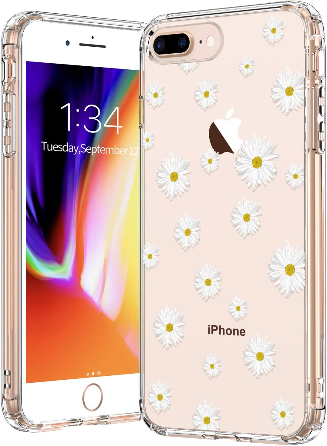 BICOL iPhone 8 Plus Case,iPhone 7 Plus Case,White Daisy Flower Floral Pattern Clear with Design Plastic Hard Back Case Soft TPU Bumper Protective Cover Phone Case for Apple iPhone 8 Plus/7 Plus