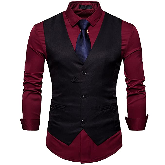 Cottory Mens Pure Color Waistcoat 3 Button Suit Vest Dress ...