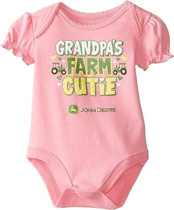 John Deere infant girls t-shirt w//short sleeves /& GRANDPA/'S FARM CUTIE free ship