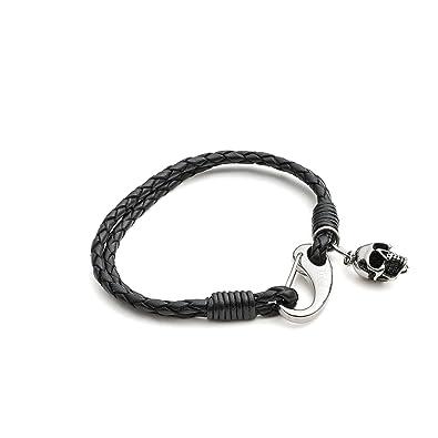 Tribal Steel 19cm Small Black Plaited Leather Bracelet with Skull Charm and Shrimp Clasp oxsjdbDU