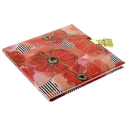 Oro libro, diario, Serratura con 2?chiavi, 16,5?x 16,5?cm, 96?pagine bianche, senza pergamena, Stampa con stampa in