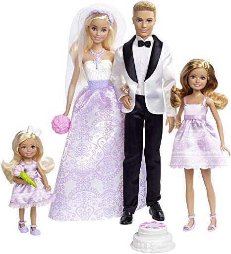 Barbie Conjunto de Boda con muñecos novios, Stacie, Chelsea y accesorios (Mattel DRJ88) , color/modelo surtido
