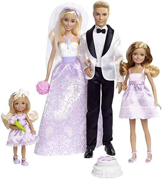 Amazon.es: Barbie Conjunto de Boda con muñecos novios, Stacie, Chelsea y accesorios (Mattel DRJ88), color/modelo surtido: Juguetes y juegos