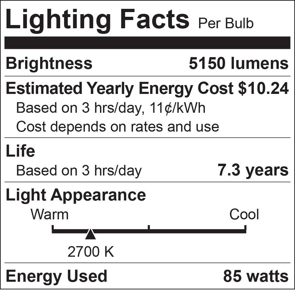 Luxrite LR20220 (12-Pack) 85-Watt High Wattage CFL Spiral Light Bulb, Equivalent To 350W Incandescent, Warm White 2700K, 5150 Lumens, E26 Standard Base by LUXRITE (Image #1)