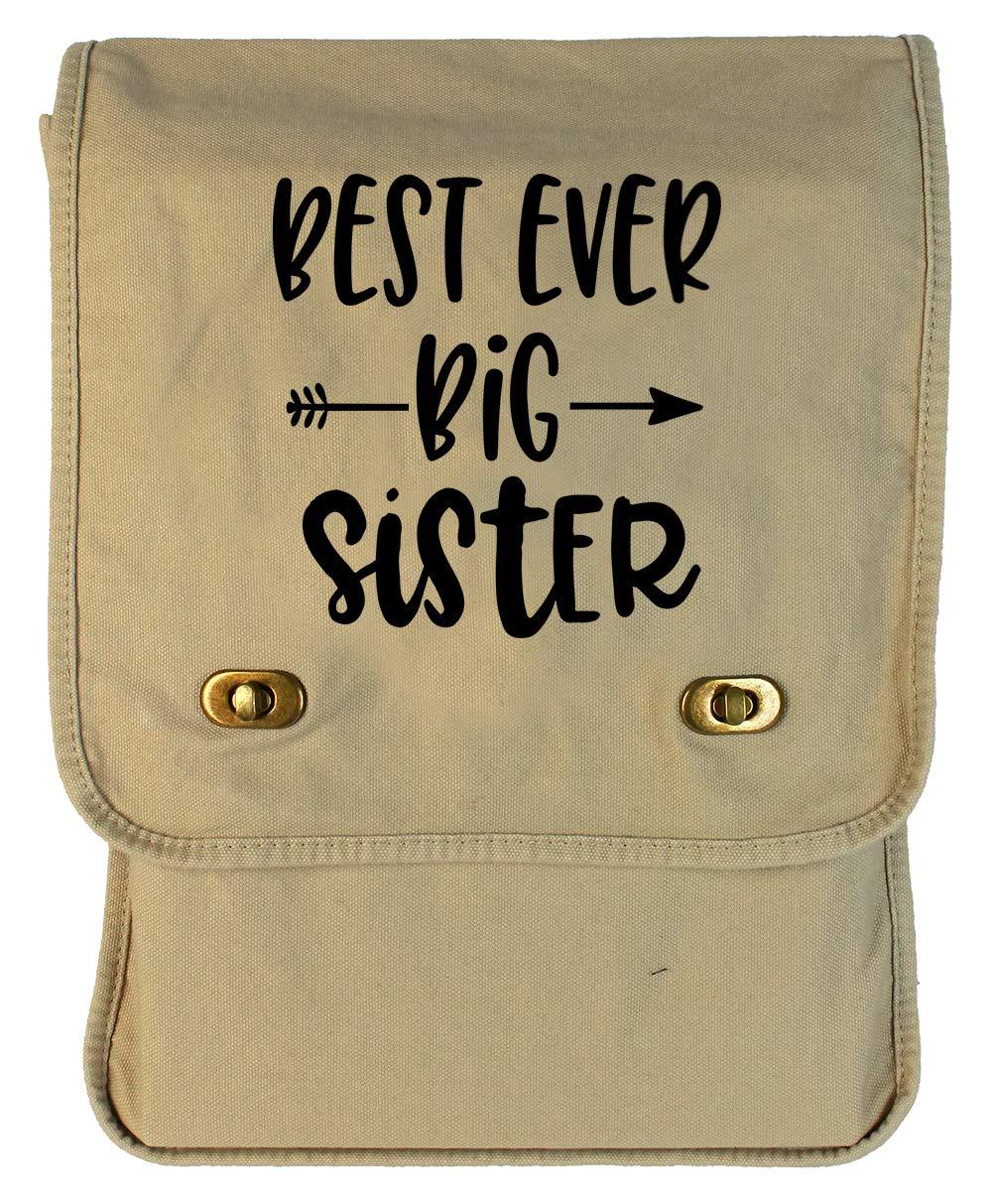 Tenacitee Best Ever Big Sister Arrow Royal Blue Brushed Canvas Messenger Bag