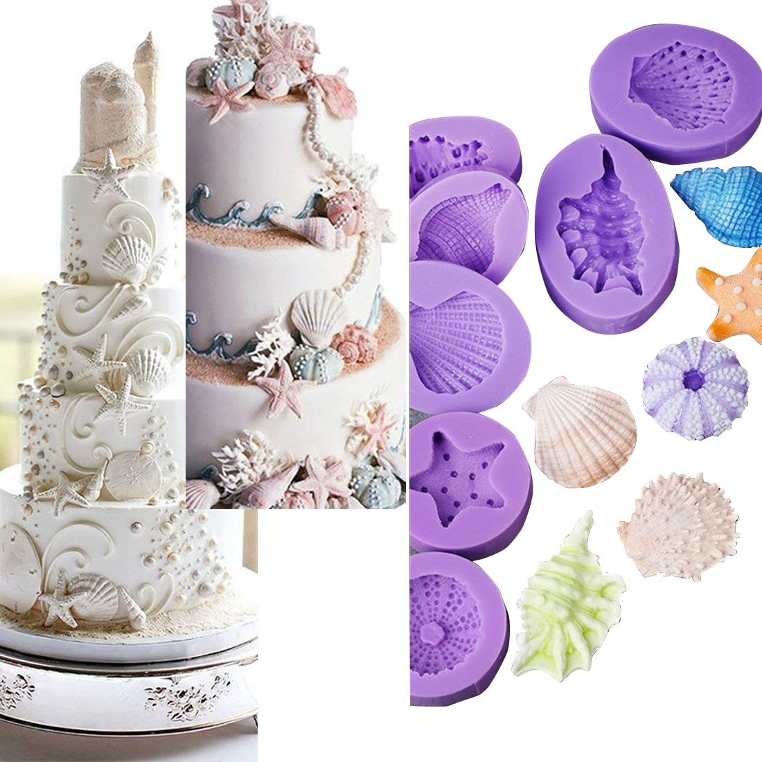 Anyana Seashell Starfish Sea Urchin Seagull mold Fondant silicone Mould for gum paste Sugar paste cake decorating cupcake topper decor set of 7pcs by Anyana (Image #9)