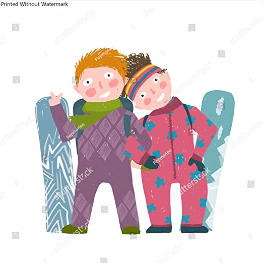 Amazon Com Kwikmedia Skiing Sport Child Girl And Boy In Winter Clothes With Snowboard Cartoon Happy Sporty Kids Couple Snowboarding Colorful Kid Hand Drawn Sketchy Feel Illustration Cartoon Posters Prints