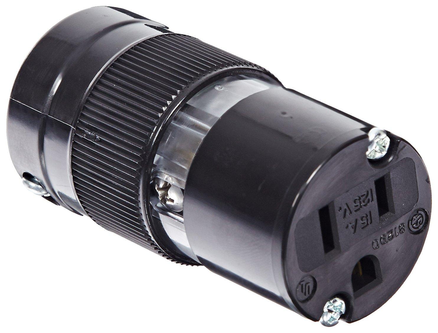 Marinco 5269BL 15 Amp, 125 Volt, 2 Pole-3 Wire, Connector - Black